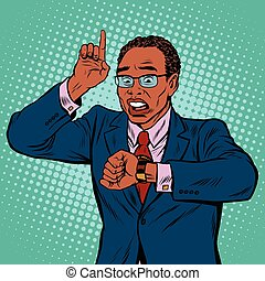 African American businessman looking at wrist watch, pop art...