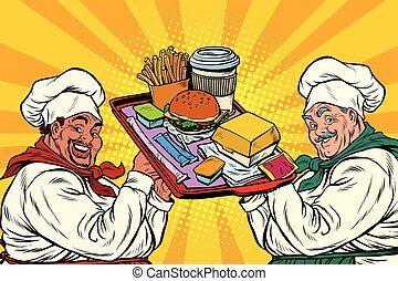 Multi ethnic cooks, fast food, pop art retro vector...
