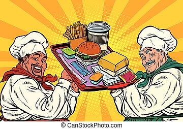 Multi ethnic cooks, fast food, pop art retro vector...