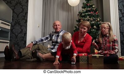 Smiling family celebrating Merry Christmas at home