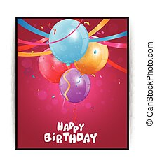 Birthday card with colorful balloon - Vector Illustration of...