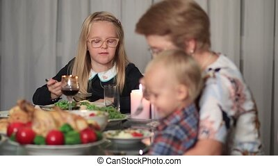 Family enjoying meal together on holidays