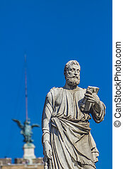Sant Angelo bridge - Saint Peter statue with key, book and...