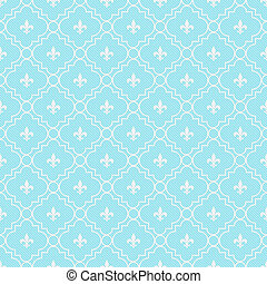 Teal and White Fleur-De-Lis Pattern Textured Fabric...