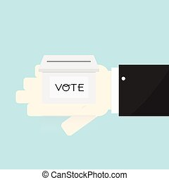 Voting concept by the ballot box on Hand .