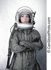 casco, Moda, avión, mujer, astronauta, Nave espacial