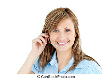 Delighted businesswoman talking on headphones