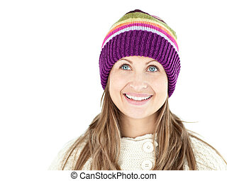 happy woman wearing a cap