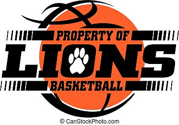 lions basketball team design with ball for school, college...