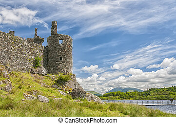 Kilchurn Castle, a ruined 15th century structure on the...