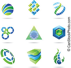 Abstract Icon Set 11 - Abstract blue and green icon set...