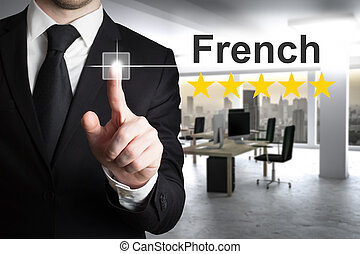 homem negócios, escrita, francês, em, a, ar