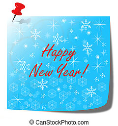happy new year blue note paper card - happy new year note...