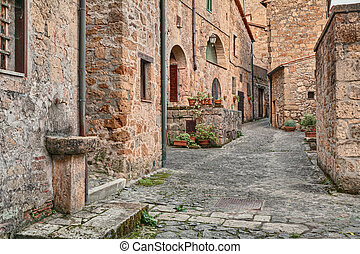 Sorano, Grosseto, Tuscany, Italy: picturesque old alley with...