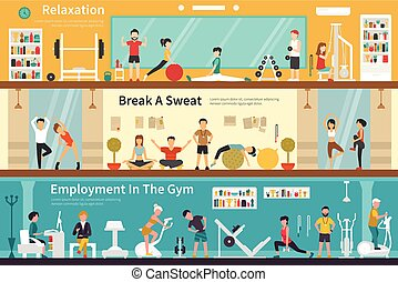 Relaxation Break A Sweat Employment In The Gym flat interior...