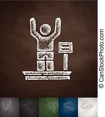 weighing icon Hand drawn vector illustration Chalkboard...