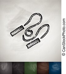 skipping rope icon. Hand drawn vector illustration....