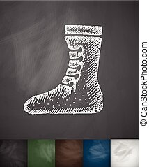 Boxing shoes icon. Hand drawn vector illustration....