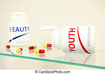 Youth and beauty pills in a bottle on bathroom shelf, fake...