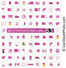 Set of football stickers - football vector sticker icons...
