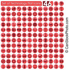 Set of technology icons - Set of technology flat icons for...
