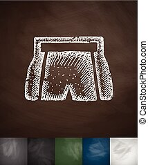 shorts icon. Hand drawn vector illustration. Chalkboard...