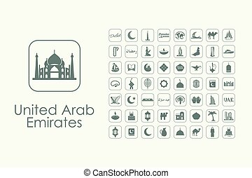 Set of United Arab Emirates simple icons - It is a set of...