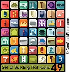 Set of building icons - Set of building flat icons for Web...