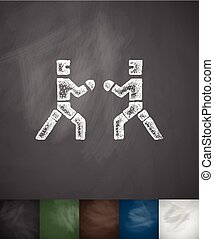 sparring icon. Hand drawn vector illustration. Chalkboard...