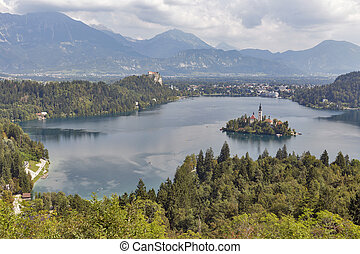 Lake Bled above view in Slovenia - Panoramic above view of...