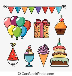 birthday celebration set icons