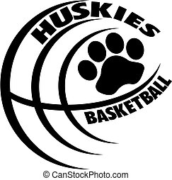 huskies basketball team design with paw print inside ball...