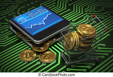 Concept Of Virtual Wallet With Bitcoins And Shopping Cart On...