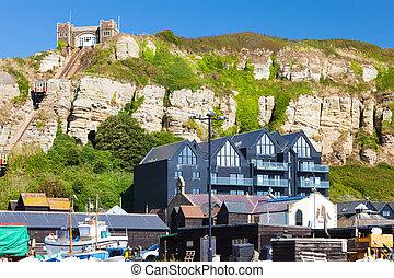 Hastings East Sussex England UK Europe - Beachside buildings...