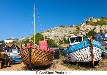 Hastings East Sussex England UK Europe - Boats on the...