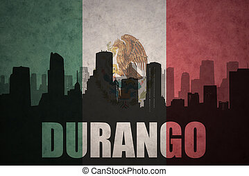 abstract silhouette of the city with text Durango at the...