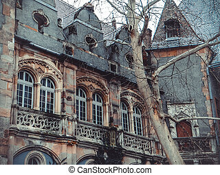 Vajdahunyad Castle in the City Park of Budapest -...