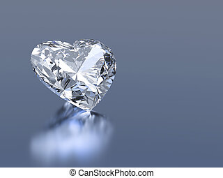 3d diamond heart stone