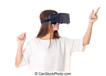 Woman using VR glasses - Positive young woman in white shirt...