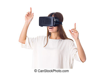 Woman using VR glasses - Young charming woman in white shirt...
