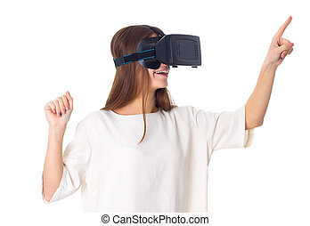 Woman using VR glasses - Happy young woman in white shirt...