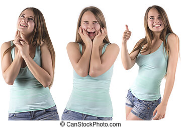 set of  emotional woman expressions
