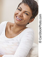 Happy Middle Aged African American Woman With Perfect Teeth