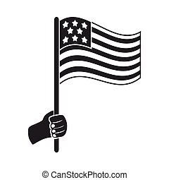 American flag icon in black style isolated on white background. Patriot day symbol stock vector illustration.