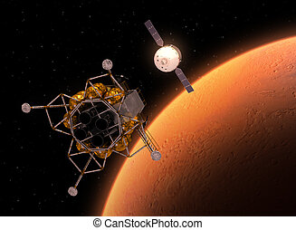 Interplanetary Space Station Orbiting Red Planet. 3D...