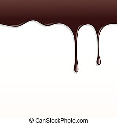Melted Dark Chocolate Dripping on White Background.