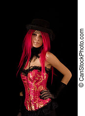 Cabaret girl in pink corset