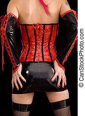 mulher, vestido, dominatrix, roupas, costas