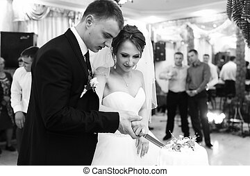Newlyweds cut their wedding cake at the first time