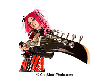 Gothic girl with guitar, focus on face, isolated on white...